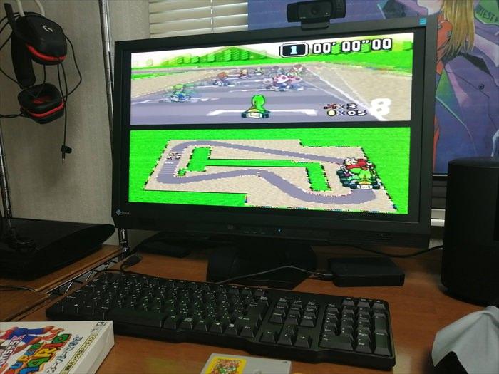 スーファミ版マリカーをHDMI接続で遊んでいる様子